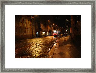 Night Tram In Prague Framed Print by Jenny Rainbow