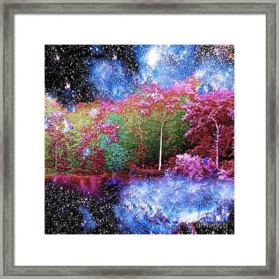 Night Trees Starry Lake Framed Print
