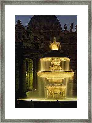 Night View Of A Fountain Outside Saint Framed Print by James L. Stanfield