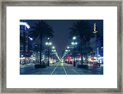 Night View Of Canal Street Framed Print