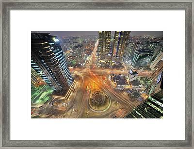 Night View Of Gongdeok, Mapo-gu, Seoul, Korea Framed Print by Tokism