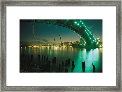Night View Of St. Louis, Mo Framed Print by Michael S. Lewis