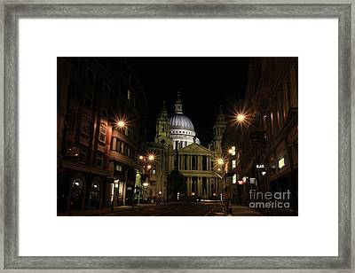 Night View Of St Pauls Cathedral  Framed Print
