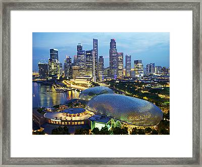 Night View Of The Esplanade And Central Framed Print