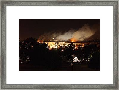 Night View Of The Pentagon Framed Print by Everett