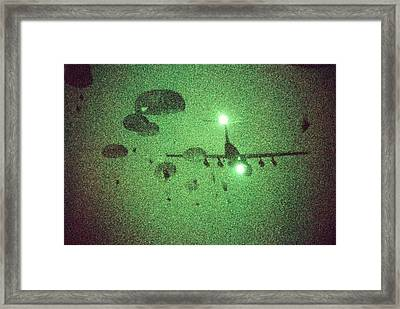 Night Vision Image Of Paratroopers Framed Print