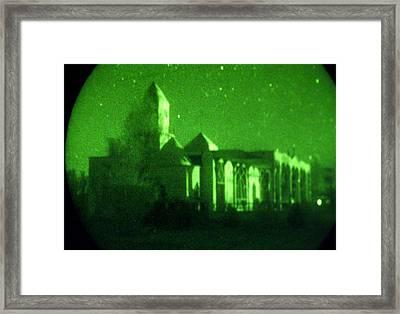 Night Vision Mosque Kandahar Framed Print by Thomas Michael Corcoran