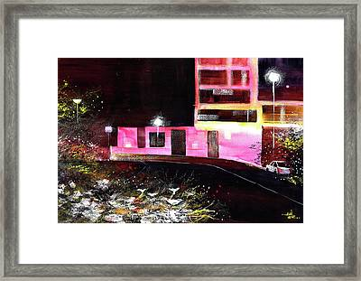 Framed Print featuring the painting Night Walk by Anil Nene