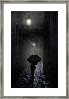 Night Walk In The Rain Framed Print