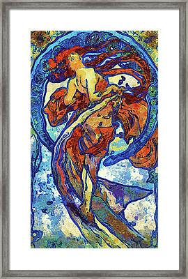 Night Woman Van Gogh Style Abstract Framed Print by Georgiana Romanovna
