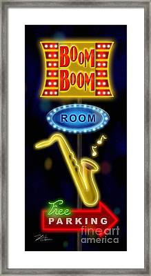 Nightclub Sign Boom Boom Room Framed Print by Shari Warren