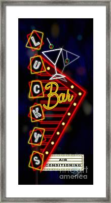 Nightclub Sign Luckys Bar Framed Print by Shari Warren