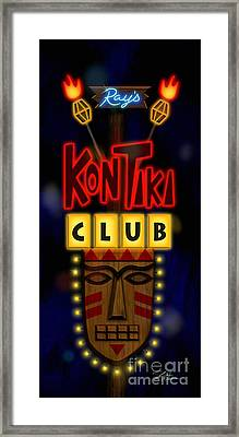 Nightclub Sign Rays Kon Tiki Club Framed Print by Shari Warren