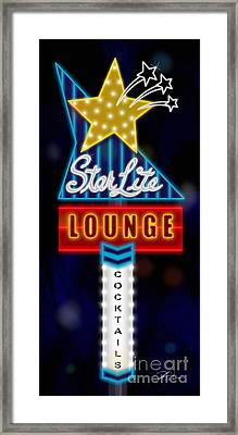 Nightclub Sign Starlite Lounge Framed Print by Shari Warren