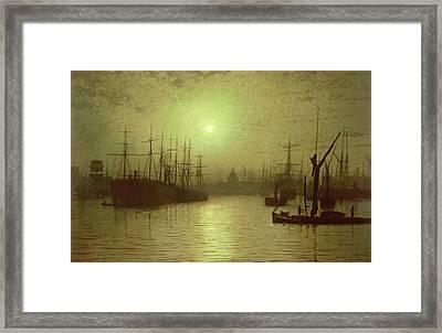 Nightfall Down The Thames Framed Print by John Atkinson Grimshaw