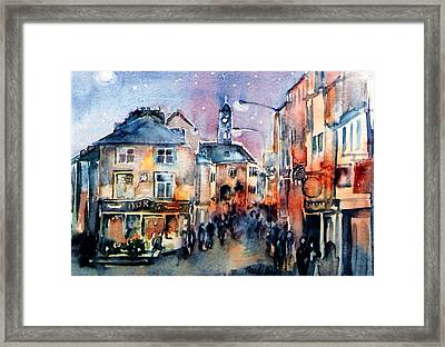 Nightfall. High St. Kilkenny City  Ireland  Framed Print by Trudi Doyle