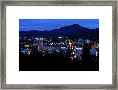 Framed Print featuring the photograph Nightfall Over Eugene by Margaret Pitcher