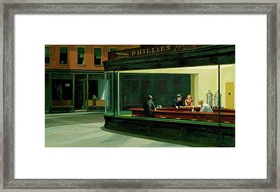 Framed Print featuring the painting Nighthawks by Artist A
