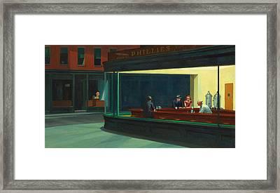 Nighthawks Plus Alfred Framed Print by Garland Johnson