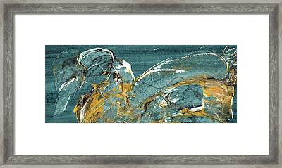 Nightingale - Black And Gold Abstract Bird Painting Framed Print by Modern Art Prints