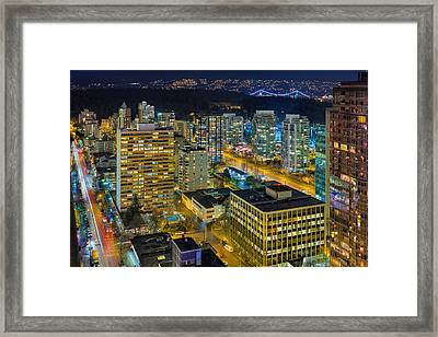 Nightlife On The Other End Of Robson Street Framed Print by David Gn