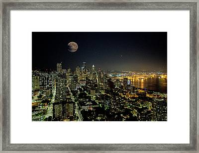 Nightlights Seattle Washington  Framed Print