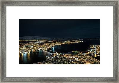 Nightscape Of Tromso Framed Print by Travel Quest Photography