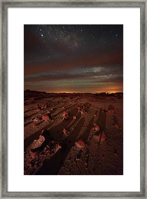Nightscape Shadows On Planet Mars Framed Print