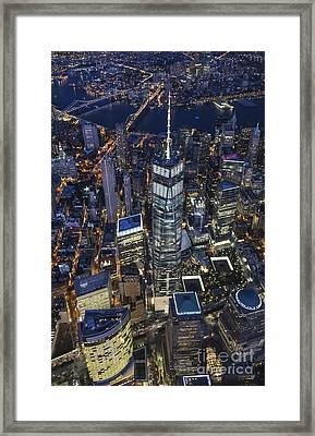 Framed Print featuring the photograph Nighttime Aerial View Of 1 Wtc by Roman Kurywczak