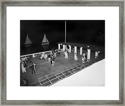 Nighttime Dancing In Bermuda Framed Print by Underwood Archives