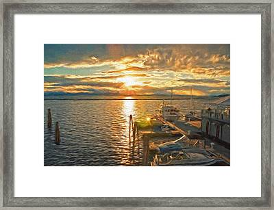 Nighttime Dockage Framed Print