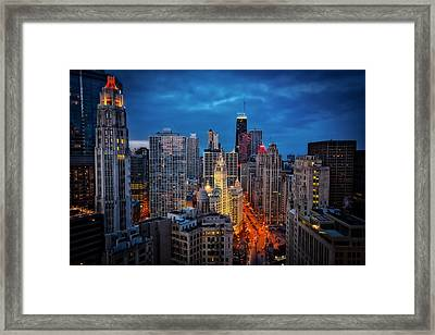Nighttime Downtown Chicago Cityscape Framed Print