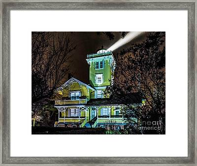 Framed Print featuring the photograph Nighttime Fog At Hereford Inlet by Nick Zelinsky