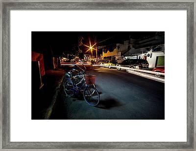 Nighttime Mexican Street Scene Framed Print by Sven Brogren