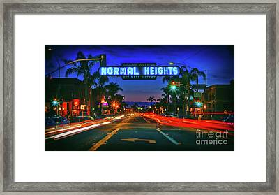 Nighttime Neon In Normal Heights, San Diego, California Framed Print