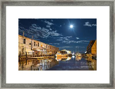 Nighttime On The Old Port Waterfront Framed Print by Benjamin Williamson