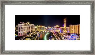 nighttime Panorama of the Strip, Las Vegas Framed Print
