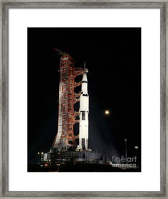 Nighttime View Of The Apollo 12 Space Framed Print by Stocktrek Images