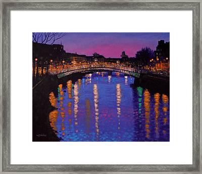 Nighttown Ha Penny Bridge Dublin Framed Print by John  Nolan