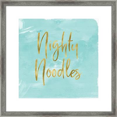 Nighty Noodles Custom Art By Linda Woods Framed Print