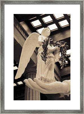 Nike Goddess Of Victory Sepia Framed Print