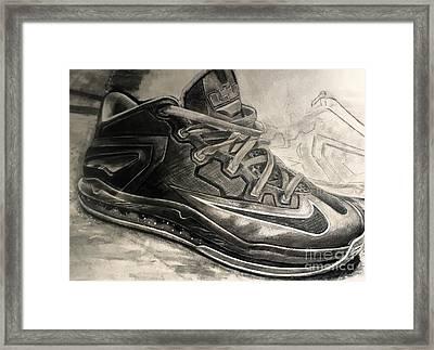 Nike Lebron 10 Low Volt Olive Framed Print by Gary Reising