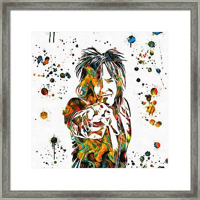 Nikki Sixx Paint Splatter Framed Print by Dan Sproul