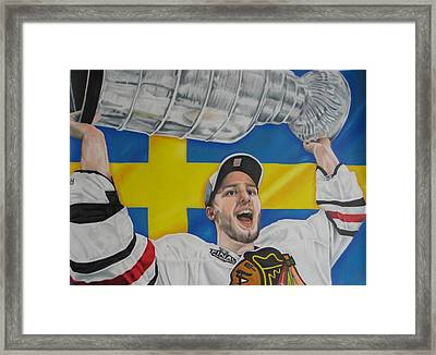 Niklas Hjalmarsson With Cup Framed Print by Brian Schuster