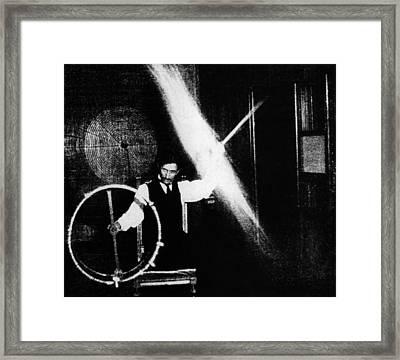 Nikola Tesla 1856-1943 Conducted Framed Print