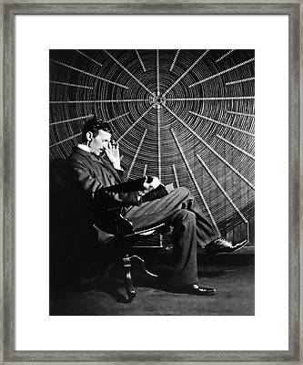 Nikola Tesla And Machine Framed Print by Daniel Hagerman