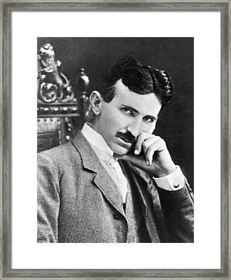 Framed Print featuring the photograph Nikola Tesla by Artistic Panda