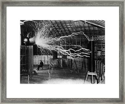 Nikola Tesla - Bolts Of Electricity Framed Print by War Is Hell Store