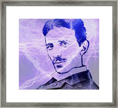 Nikola Tesla Electric Mind Framed Print by Dan Sproul