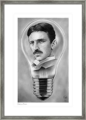 Nikola Tesla Framed Print by Greg Joens